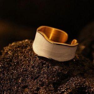 White wide enamel ring
